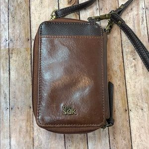 The Sak leather wristlet is carrier